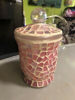 Pier 1 Pink Empty Mosaic Candle Jar With Lid Morning Bloom