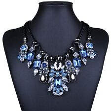 Royal Blue Elegant Gorgeous Clear Rhinestone Crystal Bib statement necklace