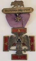 Antique Masonic Knights Templar Scottish Rite California Consitory Silver Medal