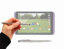 Dual Silver Stylus & Ball-Point Pen For Tesco Hudl 2 w/ Soft Rubber Tip