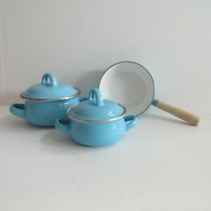 Pretend Cooking Play Set Turquoise Blue Pots and Pans Kids Kitchen Accessories