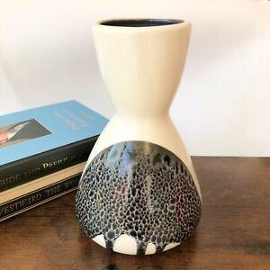 Lapid Israel Handpainted Splat Lava Pottery Zebra Vase Vtg MCM 140 Signed Anat