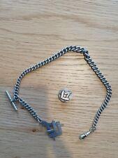 Chain Circa 1886 - 1920 Freemasons Antique Albo Silver Watch Fob
