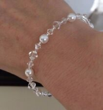 DESIGNER CRYSTAL AND PEARL BRIDAL BRACELET 925 SILVER WEDDING JEWELRY BRIDESMAID