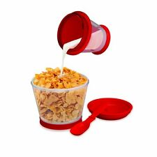 Kelloggs Breakfast On The Go - Vintage Cereal and Milk Travel Container + Spoon