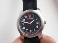 VICTORINOX FIELD MILITARY 12/24 HOUR WATCH VINTAGE EASY READ SWISS MADE RED SEC
