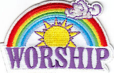 """""""WORSHIP"""" - IRON ON EMBROIDERED PATCH - RELIGIOUS - CHURCH, CEREMONY"""