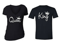 Matching Couples Queen King Matching Couple Vneck + Crewneck T-shirts S-5XL
