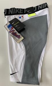 Nike Pro Men Heist Dri-Fit Baseball Sliding Shorts 880669-101 White Gray M L XL