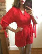 H&M Sexy Playsuit 12 10 Red Tie Sleeve Belted Shorts Viscose Jumpsuit Party