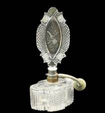 Antique Czech Clear Cut Glass Perfume Atomizer Bottle Etched Violin Center