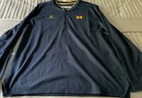 Nike Air Jordan Michigan Wolverine Pullover Zip Jacket Navy Gold Sz XL MSRP $85