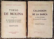 2X Clásicos Castellanos TIRSO DE MOLINA, CALDERON DE LA BARCA Espasa-Calpe 1967