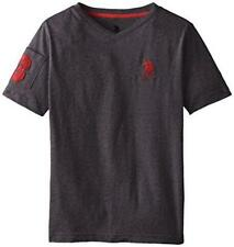 NEW U.S. POLO ASSN. BOYS' SOLID V-NECK T-SHIRT Grey or Red