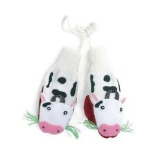 Promo Kidorable Kids Knitted White Cow Mittens Childrens Farm Gloves Knitwear