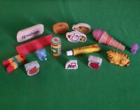 Lot Of (15) Vintage 1980's  Rubber Erasers - Garfield/Kool Aid/ Fruits/Reebok