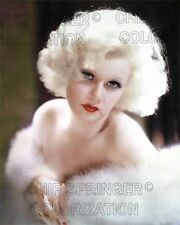 JEAN HARLOW 1933 IN WHITE FUR 8X10 BEAUTIFUL COLOR PHOTO BY CHIP SPRINGER