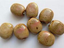 8 Glazed Ceramic Oval Beads, Beige/Pink, 18 mm. Jewellery/Beading/Crafts