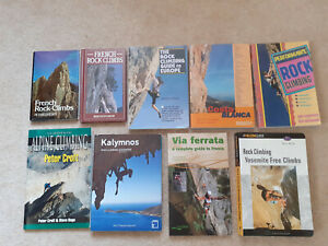 Nine climbing guide books and climbing instructional books