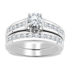1.50 Ct Round Diamond 14K White Gold Finish Solitaire Engagement Bridal Ring Set