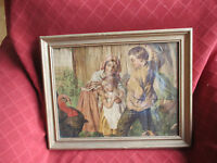 old victorian framed print of children and a turkey
