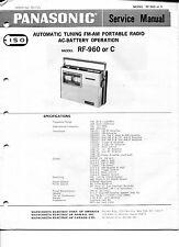Vintage Panasonic SERVICE MANUAL- Model RF-960 or C- Auto Tuning FM-AM Radio