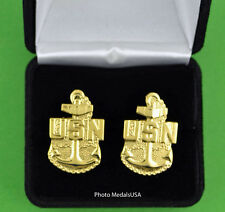 Us Navy Cuff Links in Presentation Gift Box - Usn Cpo Anchor Cufflinks