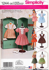 """SIMPLICITY SEWING PATTERN 1244 18"""" RETRO/VINTAGE STYLE DOLL CLOTHES, DRESSES"""
