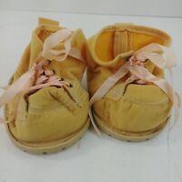 Furskins Tan Boots Bow Peach Bear Hard Soles