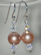 Swarovski Elements Pearls & Crystals 925 Sterling Silver Earrings Made With