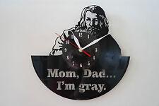 IO sono Gray Design Vinile Record Orologio da parete [Nero Lucido Adesivo] arte casa ufficio