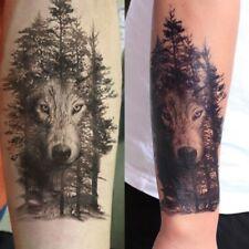 Tatuaggio Corpo 3D Lupo Tribale Nero Tridimensionale Temporanei Adesivi Tattoo