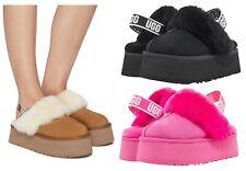 UGG Soft Funkette Platform Slide Slippers Women's Shoes Sandal Black Chestnut