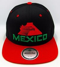 STREETWISE HECHO EN MEXICO Snapback Cap Hat Mexican Aguila OSFM Black w Red  New bf66e602015