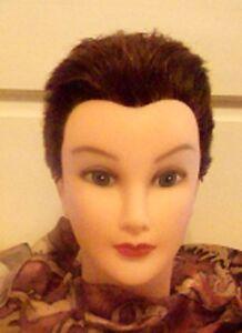 Debra Mannequi Head Short Hair Brunette Store & Style Wigs, Display Hats Wigs EC