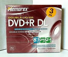Memorex DVD+R DL 8.5 GB Double Layer Blank DVD 3 Pack Brand New Factory Sealed