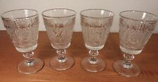 4 EAPG Westmoreland Sandwich Glass Princess Feather Goblets Footed Tumblers 8oz