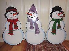 3- HAND MADE,HAND PAINTED SNOWMEN CHRISTMAS YARD ART DECORATION