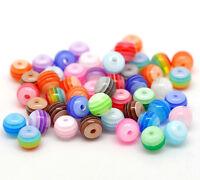 500 Mix Mehrfarbig Harz Perlen Streifen Kugel Resin Beads zum Basteln 6mm