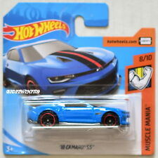 HOT WHEELS 2018 MUSCLE MANIA '18 CAMARO SS BLUE SHORT CARD