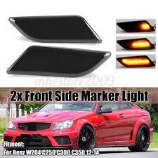 Smoke Len Front Bumper Dynamic LED Side Marker Light Indicator For Mercedes W204