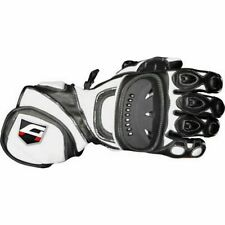 Akito Sport Max Leather Motorcycle Motorbike Sports Racing Gloves Black/White