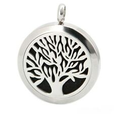 Stainless Steel AROMATHERAPY Oil or Perfume Diffuser Locket Necklace w 8 Pads
