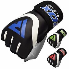 RDX Leather Gel Tech MMA Grappling Gloves Fight Boxing Punch Bag Training AU
