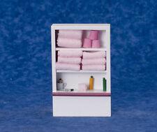 ARMADIO da bagno/scaffalature con fisso ROSA Asciugamani, Casa delle Bambole in Miniatura