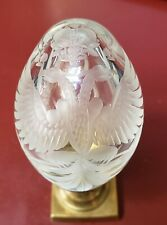 Etched Faberge Clear Crystal Egg with Romanov Double Eagle Symbolism.