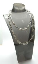 """925 Sterling Silver Clear CZ Three Stone Tubular Link Necklace Chain 50.5g 27"""""""