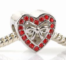 HOT European 925 Silver Hollow LOVE CZ Charm Beads Fit Necklace Bracelet #B99