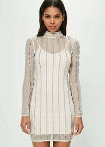 MISGUIDED High Neck Striped BeadedBodycon Dress Nude Uk 14