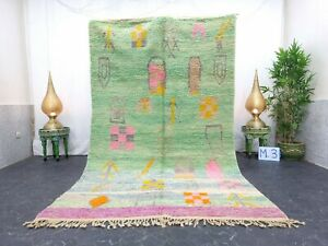 "Moroccan Boujaad Handmade Rug 5'4""x9' Berber Patchwork Faded Green Pink Wool Rug"